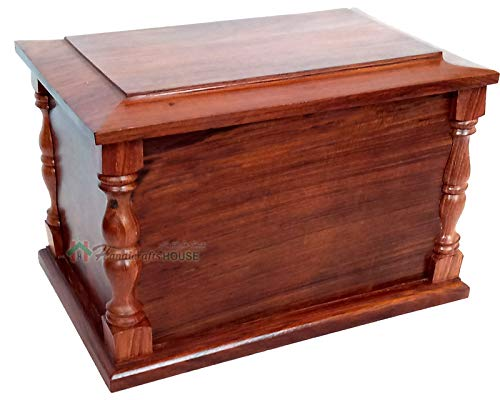 Handicrafts House Rosewood Cremation Urn Box with Pillar Style for - Cremation Wood Oak Urn