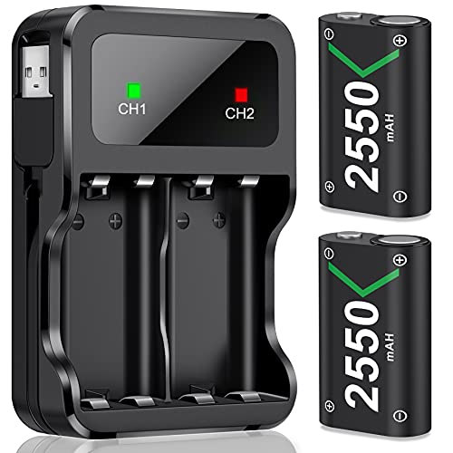 Controller Battery Pack for Xbox One/Xbox Series X|S, Rechargeable Battery Pack for Xbox Series X|S/Xbox One/Xbox One S/Xbox One X/One Elite Controller w/ 2x2550mAh Xbox One Controller Battery Pack
