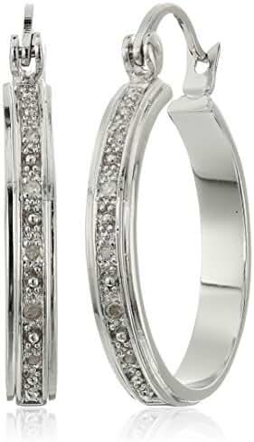 Rhodium Plated Diamond Hoop Earrings