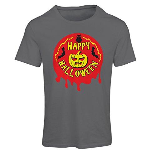 T Shirts for Women Happy Halloween! - Party Clothes - Pumpkins, Owls, Bats (Large Graphite Multi Color)