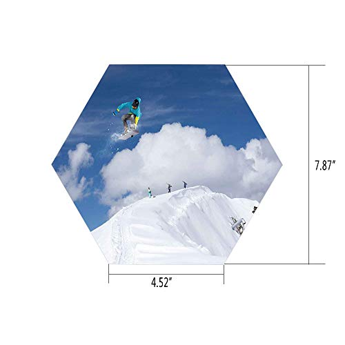 (iPrint Hexagon Wall Sticker,Mural Decal,Winter,Flying Snowboarder on The Mountaintop with Cloudy Sky Extreme Sports Theme Photo,Blue White,for Home Decor 4.52x7.87 10 Pcs/Set)