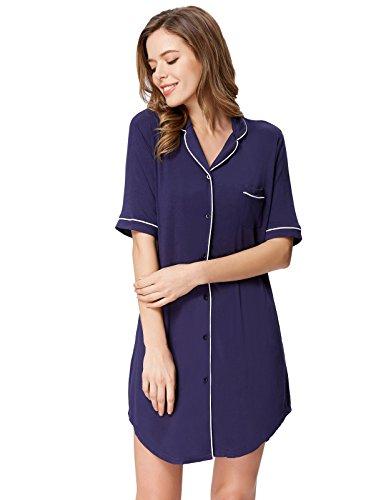 Zexxxy Navy Blue Pyjama Button Top for Ladies Knit Nightgown Cozy Sleepwear M by Zexxxy