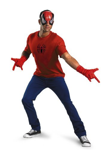 Marvel Adult Costumes (Disguise Men's Marvel Spider-Man Adult Kit, Red/Black, One Size)