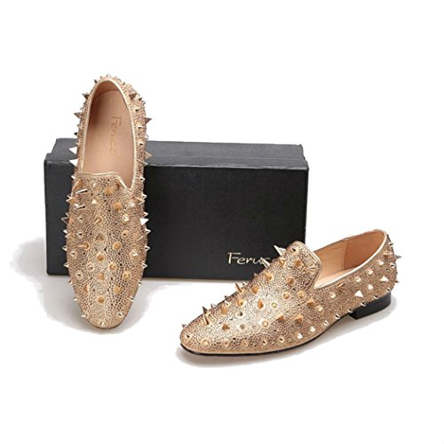 b2782979e464 Men FERUCCI Gold Spikes Slippers Loafers Flat With Crystal GZ Rhinestone  lovely