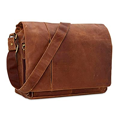 Leather Hubb Leather Messenger Laptop Bag 15.6 inches, college bag for men and women