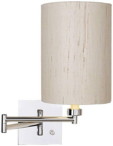(Dimmable Ivory Linen Drum Shade Plug-in Swing Arm Wall Lamp - Possini Euro)