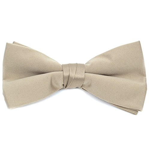 Paisley Taupe Collar (Men's Taupe Pre-tied Clip On Bow Tie - Formal Tuxedo Solid Color)