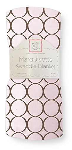 SwaddleDesigns Marquisette Swaddling Blanket, Premium Cotton Muslin, Brown Mod Circles on Pastel -