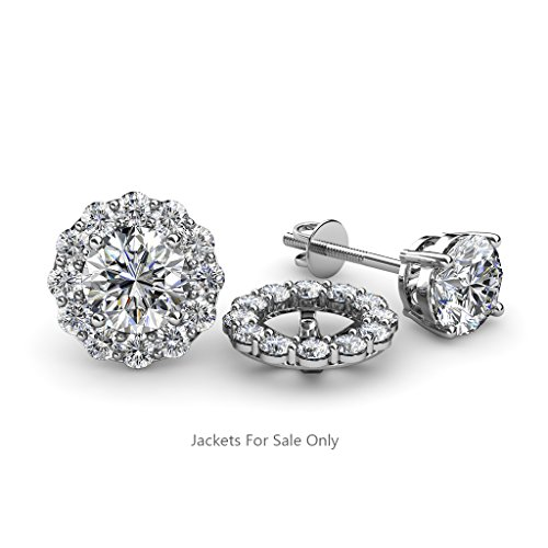 Diamond Halo Jacket for Stud Earrings (SI2-I1-Clarity, G-H-Color) 0.72 ct tw in 14K White Gold Tw Diamond Earring Jackets