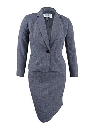 Le Suit Women's Petite Size Tonal Plaid 1 Button Skirt Suit, Grey, 10P