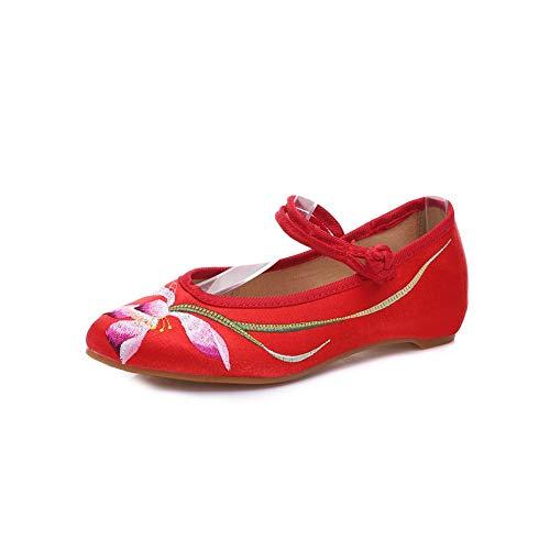 Pointu Tissu À Brodées De Et Espadrilles Bout Marche B En Red chaussures Danse Femmes Pour Chaussures WpXWF0n