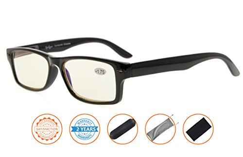 UV Protection,Reduce Eyestrain,Anti Blue Rays,Unisex Computer Reading Glasses(Black,Amber Tinted Lenses) without - Glasses 0 Prescription