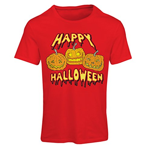 T Shirts for Women Happy Halloween! Party Outfits & Costume - Gift Idea (Small Red Multi Color)