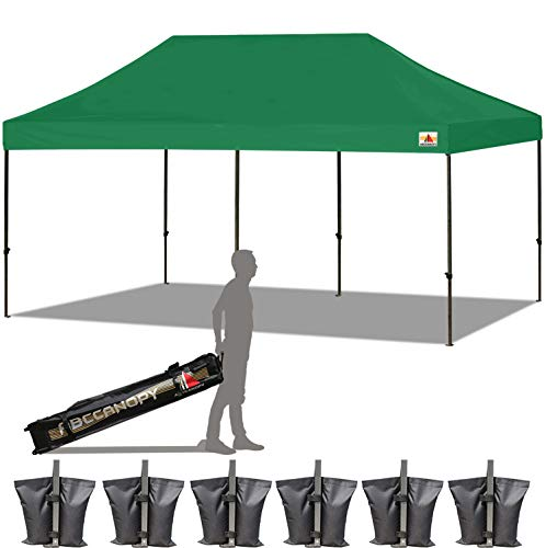 ABCCANOPY 10x20 Straight Leg Pop-up Canopy Commercial Grade Instant Canopy Black Roller Bag Bonus 6X Weight Bag (Forest Green) ()