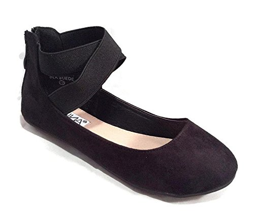 Girls Flat (Anna Girl Kids Dress Ballet Flat Elastic Ankle Strap Faux Suede Shoes Black 3)