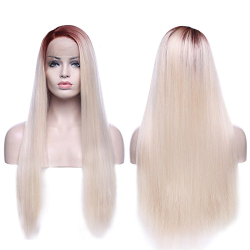 Red Blonde Wig - Ombre Lace Front Full Wigs Two Tones Red to Platinum Blonde Heat Resistant Synthetic Hair Glueless Anime Wigs 28 Inch Long for Women Beauty