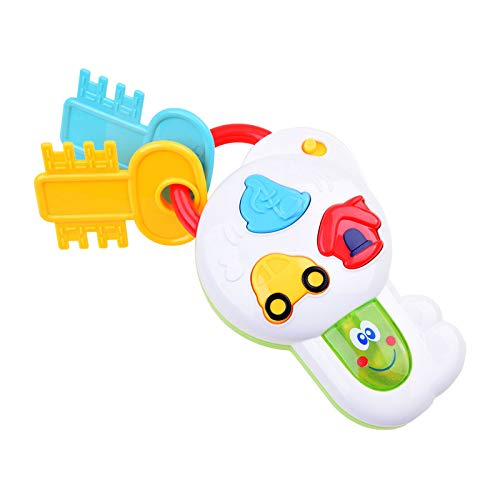 Emob® Baby Pretend Play Music Key Rattle Musical Toy with Flashing Lights and Sound Effects(Assorted Color)