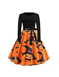 2DXuixsh Womens Halloween Dresses Slim A-Line Vintage Dress Witch Pumpkin Skull Printed Cocktail Swing Party Dress