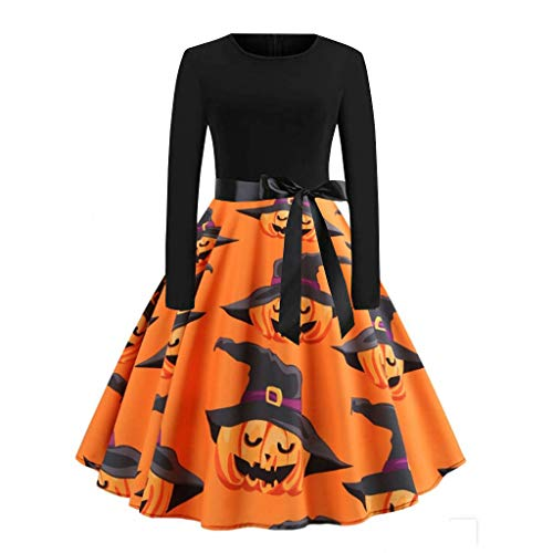 FEDULK Womens Long Sleeve Halloween Costume Pumpkin Ghost Print Vintage Flared Cocktail Swing Dress(Black1, XXX-Large)