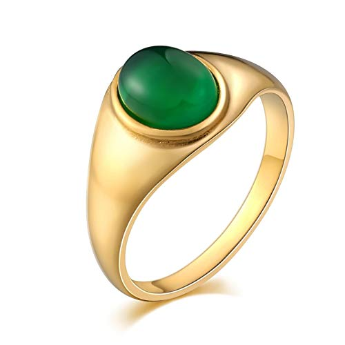 ANAZOZ Jewelry Mens Rings Stainless Steel Signet Rings Punk Wedding Bands Oval Opal 13MM Green Size 10