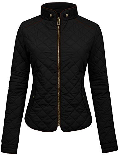 NE PEOPLE Womens Lightweight Quilted Zip Jacket, Medium, NEWJ22BLACK by NE PEOPLE