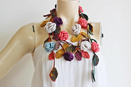 Multicolor Crochet Necklace-Lariat Scarf-Rose Lariat Scarf-Mohair Crochet Scarf with Gold Glitter- Autumn Scarf-Teal,Mustard,Coral,Purple