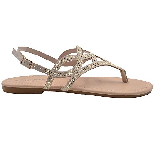 Via Rosa Ladies Fashion Sandals 7 M US Microsuede Slingback Thong Flats with Studs Nude