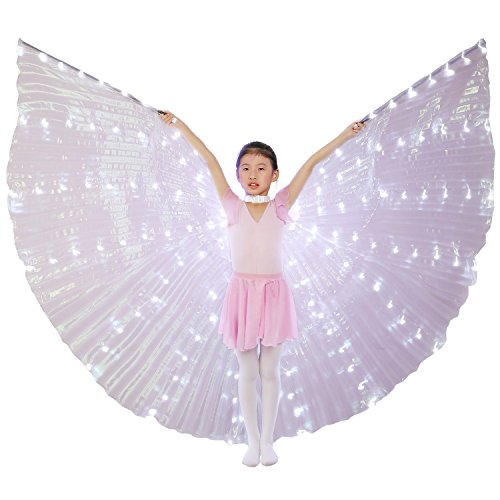 Dance Fairy Belly Dance Child LED Angel Isis Wings with Flexible Sticks (White-Child) ()