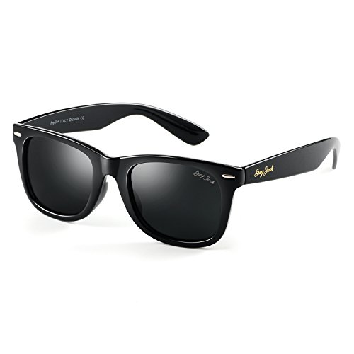 GREY JACK Classic Polarized Retro Square Horn Rimmed Design Sunglasses for Men Women Black