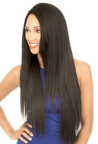 [Lace Front Wig] Human Hair Blend 4X4 XL Magic Lace U-Shape Lace Wig - MLUH98 (1B) (Magic Wig)