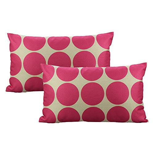All Smiles 2 Pack 12 x 20 Fuschia Rectangle Lumbar Throw Pillow Covers Cases Decorative Outdoor Cushion Home Decor Accent Square for Couch Sofa Patio,Purple Rose Red Geometric (Cases Fuschia Pillow)