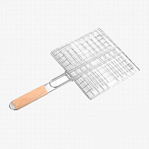 Barbecue Grilling Basket Grill BBQ Net Wooden Handle Steak Meat Fish Vegetable (Fruit Gift Baskets Perth)