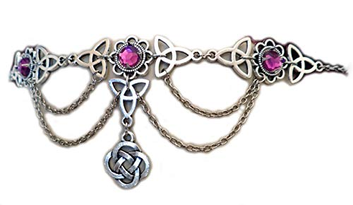 Moon Maiden Jewelry Celtic Triquetra Trinity Knot Draping Chain Headpiece Light Purple ()