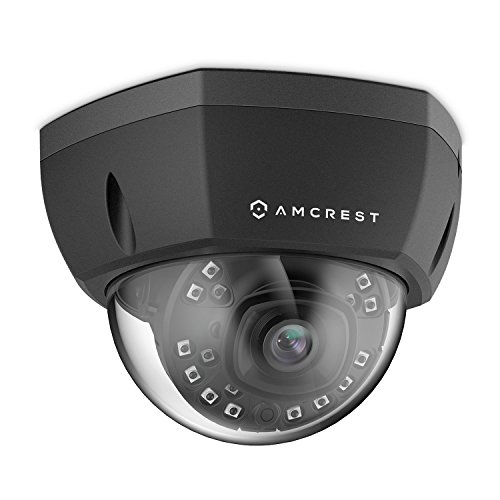 Amcrest 5MP POE Camera UltraHD Indoor Outdoor POE IP Security Camera System Dome IP67 Weatherproof, 98ft IR Night Vision, 5-Megapixel (2688 TVL), Cloud & MicroSD Recording IP5M-1176E (Black)