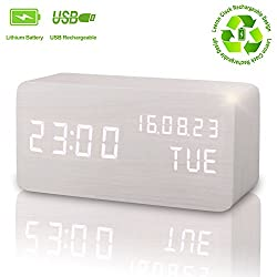 Wooden Digital Alarm Clock, Displays Time Date Week And Temperature, Cube Wood-shaped Sound Control Rechargeable Desk Alarm Clock for Kid, Home, Office, Daily Life, Heavy Sleeper(White - rechargeable)