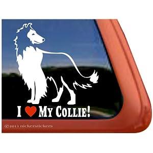 I Love My Collie! Rough Collie Dog Vinyl Window Decal Adhesive Sticker 19