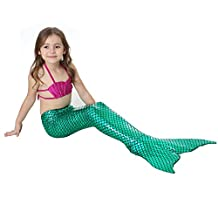 Mermaid Tail Swimmable Costume Swimsuit Long Princess Dress For Little Girls