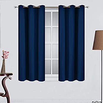 Yakamok Room Darkening Drapes Blackout Curtains Thermal Insulated Grommet Curtain Panels for Bedroom, 38W x 45L, Navy Blue, 2 Panels