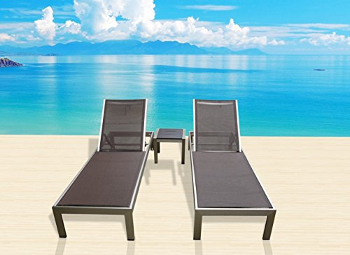 Outdoor Aluminum Textilene Patio Pool Lounge Resin 3-Piece Garden Chair Recliner Set - Ocean Wicker End Table