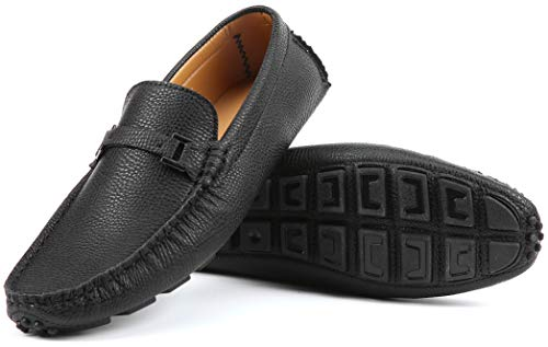 Mio Marino Mens Loafers - Italian Dress Casual Loafers for Men - Slip-on Driving Shoes - in Gift Shoe Bag - Urbane Pebble Leather Loafer - Black - Size US-11D(M) | UK-10.5 | EU-44