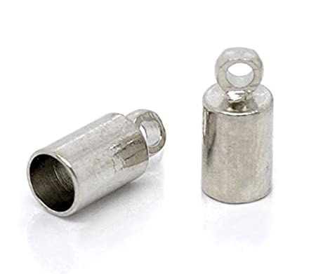 5 sets Silver Plated End Caps Tips for 3mm Cord with 12mm Clasps /& Extension UK