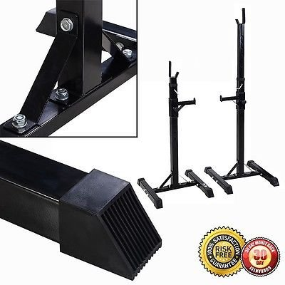 New Pair of Adjustable Solid Steel Squat Stands Barbell Free Press Bench