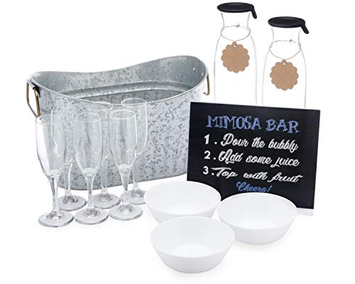 17 Piece Mimosa Bar Set - Celebrate in Style: Brunch, Bridal Shower or Bachelorette Party. The Perfect Gift. Steel Ice Tub, Glass Juice Carafes with Tags, Fruit Bowls, Glass Champagne Flutes, Bar Sign ()
