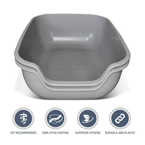(PetFusion Cat Litter Box Large (The BetterBox - Set of 2). Non-Stick Coating for Easier Cleaning & Superior Hygiene. Litter Pans Made of Stronger ABS Plastic)