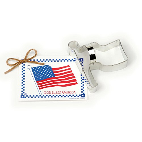 Flag Cookie and Fondant Cutter - Ann Clark - 4.4 Inches - US Tin Plated Steel