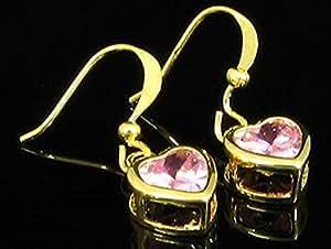 Pink Sapphire 18K Gold Plated Heart Cut Dangle Earrings(37)