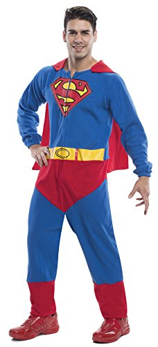 UHC Men's Superman Onesie Superhero Outfit Theme Party Halloween Costume, XL (44-50) (Superman Adult Onesie)