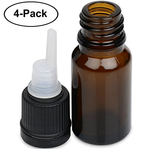 Aennon Essential Oil Bottles – 10 ml. Amber Glass Empty Bottle Set, for The Aroma Nebulizing Diffuser (4-Pack) + 12 Extra Washers Included