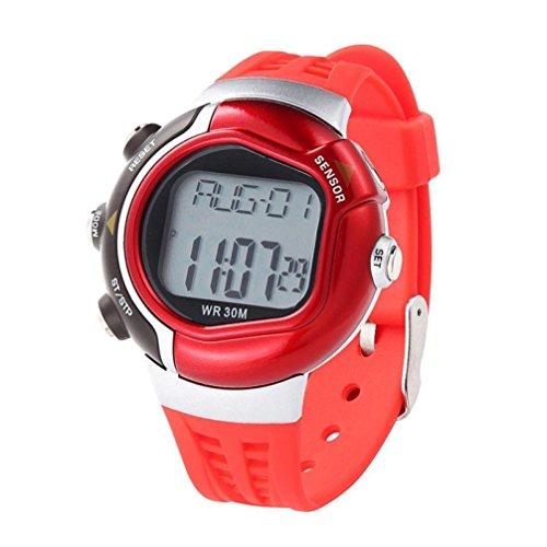 Price comparison product image Mandy Waterproof Fitness Heart Rate Monitor Sport Watch Calories Counter Red