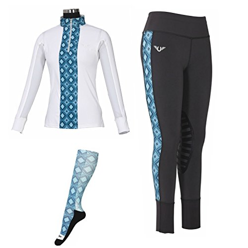 TuffRider Women's Artemis Equicool Riding Long Sleeve Shirt and Tights with FREE socks | Equestrian Apparel | Horse Rider's Clothing